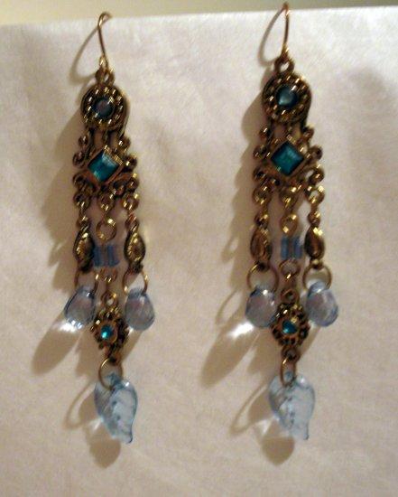 Antique look chandelier earrings blue stones pierced vintage ll2402