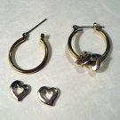 Removable hearts on hoops 3-way earrings silverplate pierced vintage ll2406