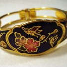Butterflies and flowers cloisonne clamper bangle bracelet vintage ll2411