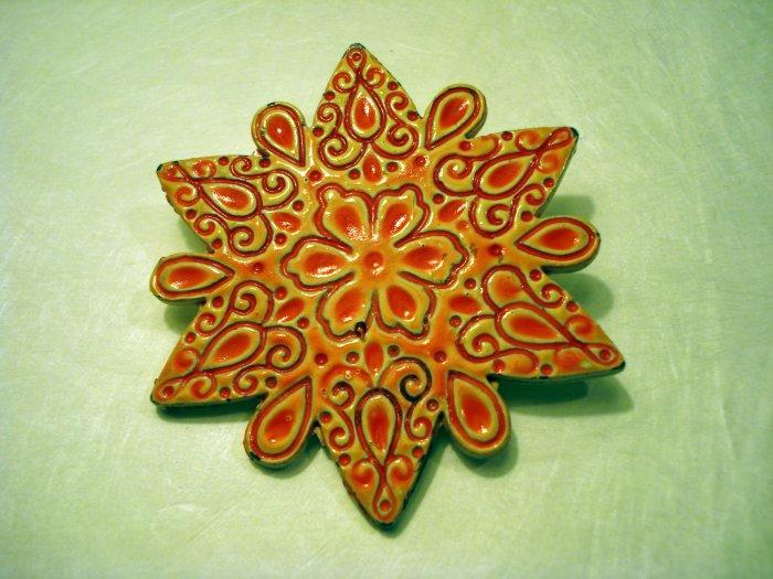 Snowflake coat pin brooch enamel on steel vintage costume jewelry ll2417