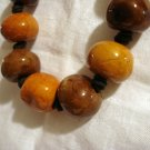 Clunky ceramic bead necklace on leather cord hand knotted excellent vintage ll2447