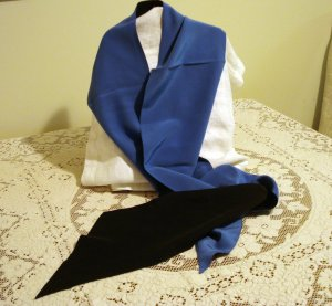 Luxury silk scarf extra long bias cut reversible black blue excellent vintage ll2452