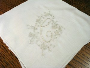 Antique linen hanky white monogrammed C Madeira embroidery rolled hem ll2457