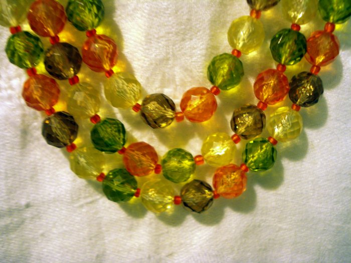 Faceted plastic beads 3 strand necklace cluster earrings citrus colors West Germany vintage ll2467