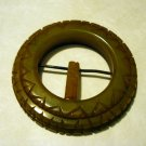 Bakelite belt buckle pendant carved Bakelite tongue olive vintage ll2469