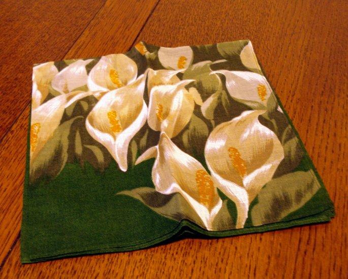 Calla lily printed hanky large unused vintage ll2477