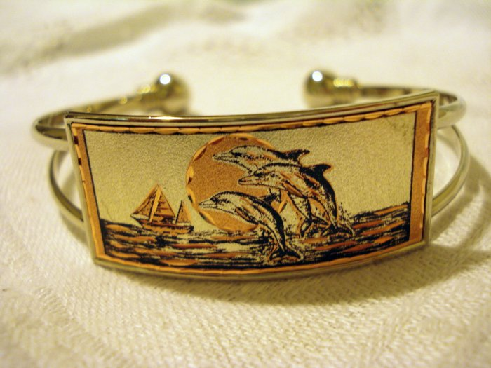 Copper and chrome etched cuff bracelet handmade as new ll2481