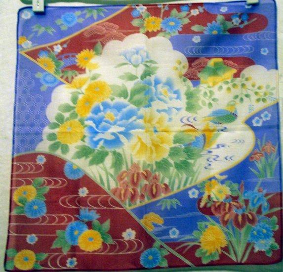 Japanese print cotton hanky irises chrysanthenum dreamy unused vintage ll2489