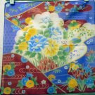Japanese print cotton hanky irises chrysanthenum dreamy unused vintage ll2489