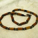 Casual necklace wood rods pewter stations signed ll2492