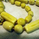 Vintage bone bead necklace gold tone accents ll2495