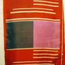 Long silk scarf red pink purple rolled hem excellent vintage  ll2502