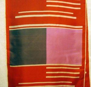 Long silk scarf red pink purple rolled hem excellent vintage  ll2502
