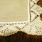 White cotton hanky handmade crocheted lace edge vintage ll2505