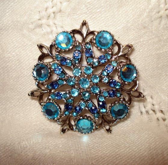 Blue rhinestones in silver potmetal pin brooch vintage costume jewelry ll2512