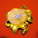 Ivana elegant floral pin brooch pendant option gold plate Swarovski crystals costume jewelry ll2509