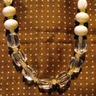 Clear lucite and faceted white plastic bead necklace Claires as new ll2529