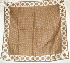 Brown scarf white polka dots rayon nylon unused vintage ll2540