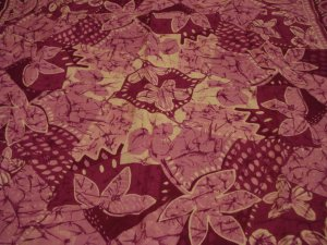 Monique Martin square scarf batique style viscose leaves made Italy excellent vintage ll2572