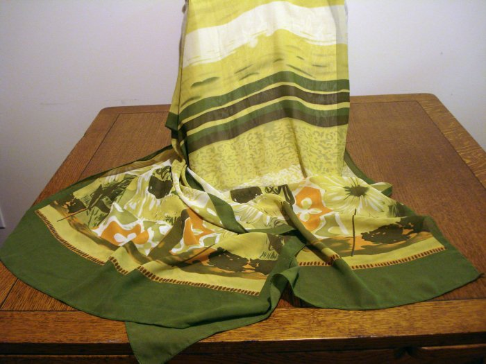 Silky stole shades of green and rust watercolor print excellent vintage ll2575