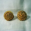 Monet clip earrings gold plated coiled rope button style unused ll2591