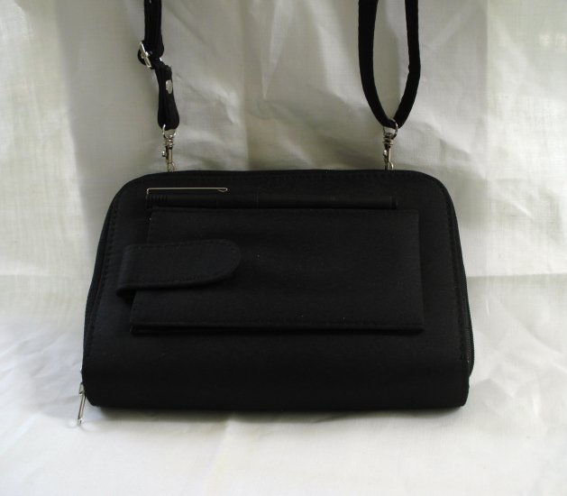 Diary wallet carryall all-in-one black fabric detachable strap unused ll2611