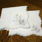 2 Matching cotton hankies pastel embroidery scalloped edge unused vintage ll2594