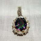Sterling silver mystic topaz clear quartz elegant pendant preowned as new ll2598