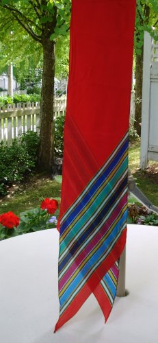 Liz Claiborne long bias cut silk scarf red with stripes vintage ll2617