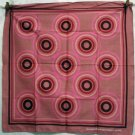 Bulls eye cotton scarf bandanna bold pinks burgundy excellent used ll2640