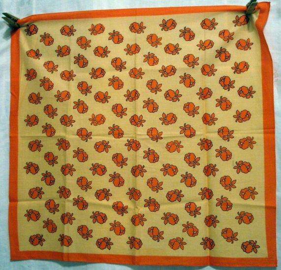 Orange juice cotton scarf bandana stylized flowers excellent used ll2641