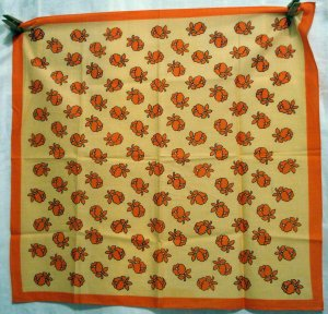 Orange juice cotton scarf bandanna stylized flowers excellent used ll2641
