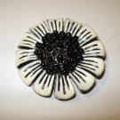 Black white enameled metal flower pin brooch as new vintage ll2651