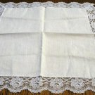 White cotton hanky net lace edging excellent vintage ll2656