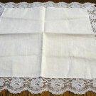 White cotton hanky net lace edging excellent vintage ll2656