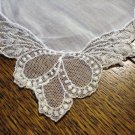 White linen hanky elaborate net lace edging excellent antique ll2659
