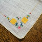 White linen hanky handmade applique embroidery sweet antique ll2661