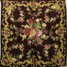 Large Italian silk scarf floral jacquard Art Deco style floral unused vintage ll1745