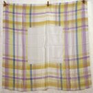 Liz Claiborne large square silk scarf soft pastel plaid unused vintage ll2662