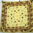 Oscar de la Renta floral print silk scarf burgundy ecru  vintage ll2664