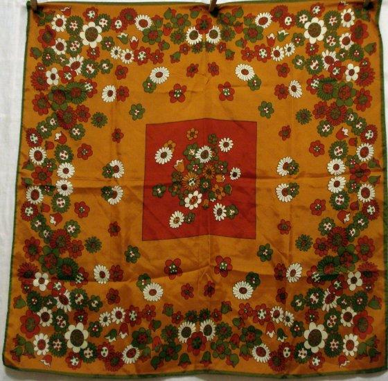 Flower power mod acetate scarf daisies retro colors large vintage ll2671
