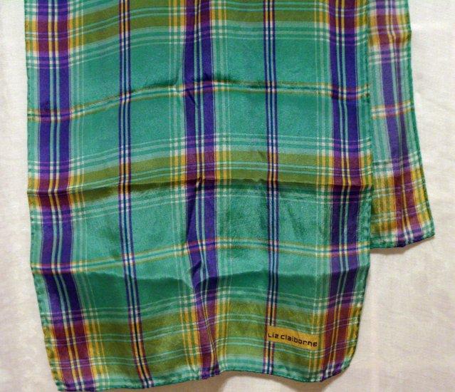 Liz Claiborne long silk scarf aqua deep lilac plaid very good vintage ll2672