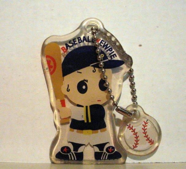 Baseball Kewpie vinyl key chain batter and baseball cute pre-owned ll2687