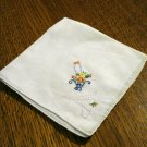 Embroidered handmade hanky flower basket threadwork rolled hem great vintage ll2698