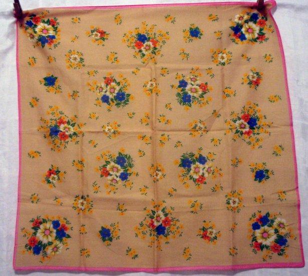 Cotton floral scarf, bandanna, kerchief tan with poseys vintage ll2729
