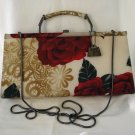 American Beauty roses Jeanne Lottie fabric evening bag shoulder or handle very good vintage ll2739