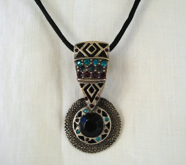 Chico's pewter pendant with stones Aztec look large bailes Pre-owned ll2742