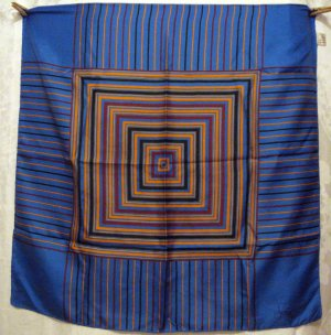 Radiating squares Italian made silk scarf rolled hem large blue orange rust excellent vintage ll2746