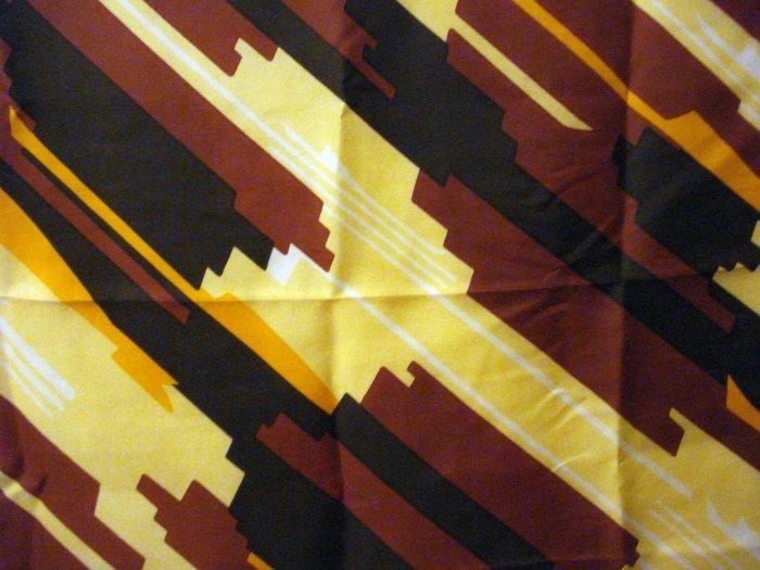 Triangle silk scarf rolled hem brown orange yellow black very good vintage ll2747