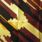Triangle silk scarf rolled hem brown orange yellow black very good vintage ll2747